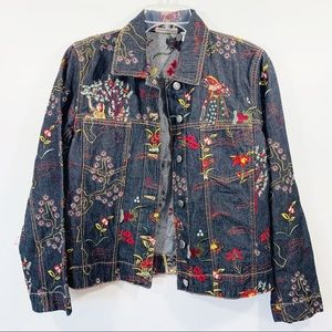 Chico's Asian Embroidered Denim Jacket